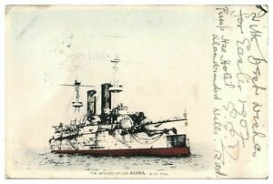 Antique-military-WW1-colour-printed-postcard-The-Japanese-Cruiser-Asama