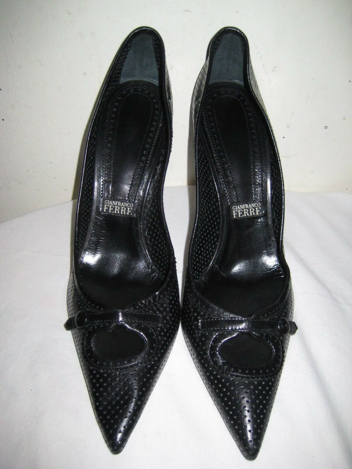 GIANFRANCO GIANFRANCO GIANFRANCO FERRE Leather Black Pumps Heel Pointy shoes Women's Size 41   10-10.5 3b246d