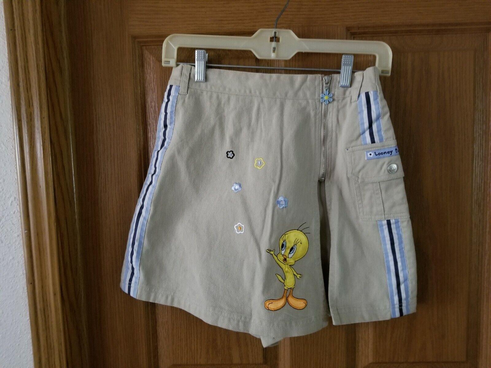 *LOONEY TUNES* Tweety Bird Girls Shorts Skort Size(14) 100% Cotton.