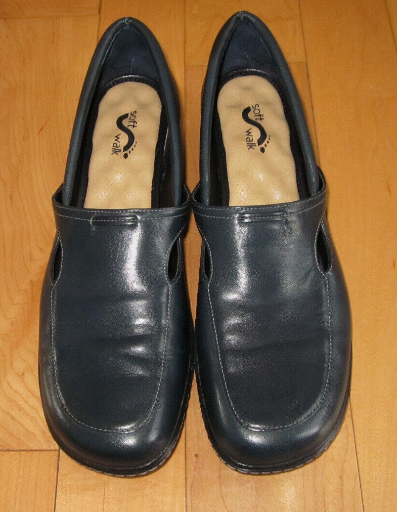 Soft Walk Wms Navy Leather Loafers 11.5 N