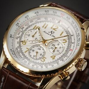 KS Aviator Men's Gold Case Date Leather Automatic Mechanical Sport Wrist Watch