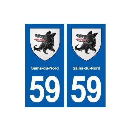 59 Sains-du-Nord blason autocollant plaque stickers ville droits