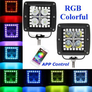 2X-3-034-Bluetooth-APP-RGB-Travail-Lumiere-DEL-Halo-Yeux-Flood-Spot-combocar-Offroad