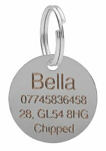 Dog-Cat-Pet-Tag-ID-Tags-Personalised-Engraved-Silver-25mm-Round-Puppy-Collar