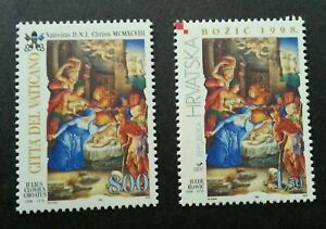 [SJ] Vatican - Croatia Joint Issue Christmas 1998 Natal (stamp pair) MNH