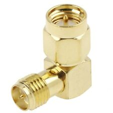 2 x SMA Male to RP-SMA Female Right Angle 90 Degree Extender Adapter Gold Plated