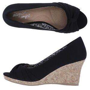 2f2d12d69b9 Dexflex Comfort (Payless) Black Peep toe cork wedge shoes size 11 ...
