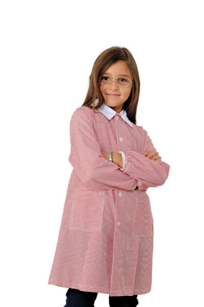 100% Vero Grembiulino Pollicino Quadretto Rosso Per Bambina
