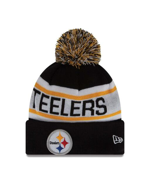 Pittsburgh Steelers Era Knit Hat Biggest Fan Beanie Cuff Pom Stocking Cap 98852182bad