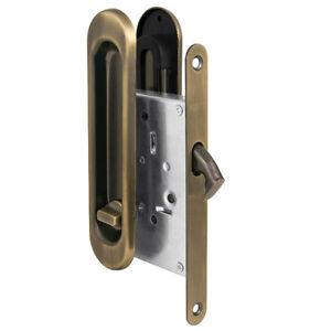 Recessed Sliding Pocket Door Bathroom Privacy Lock Pull Handles Satin Nickel