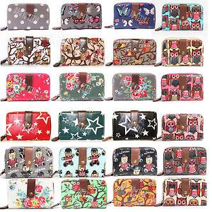 Ladies-Women-Designer-Oilcloth-Large-Purse-Wallet-Girls-Coin-Purse-Handbag-Bag