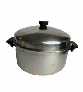 Vintage Revere Ware 6 QT Stock Pot Copper Clad 1801 Stainless Steel W/ Lid
