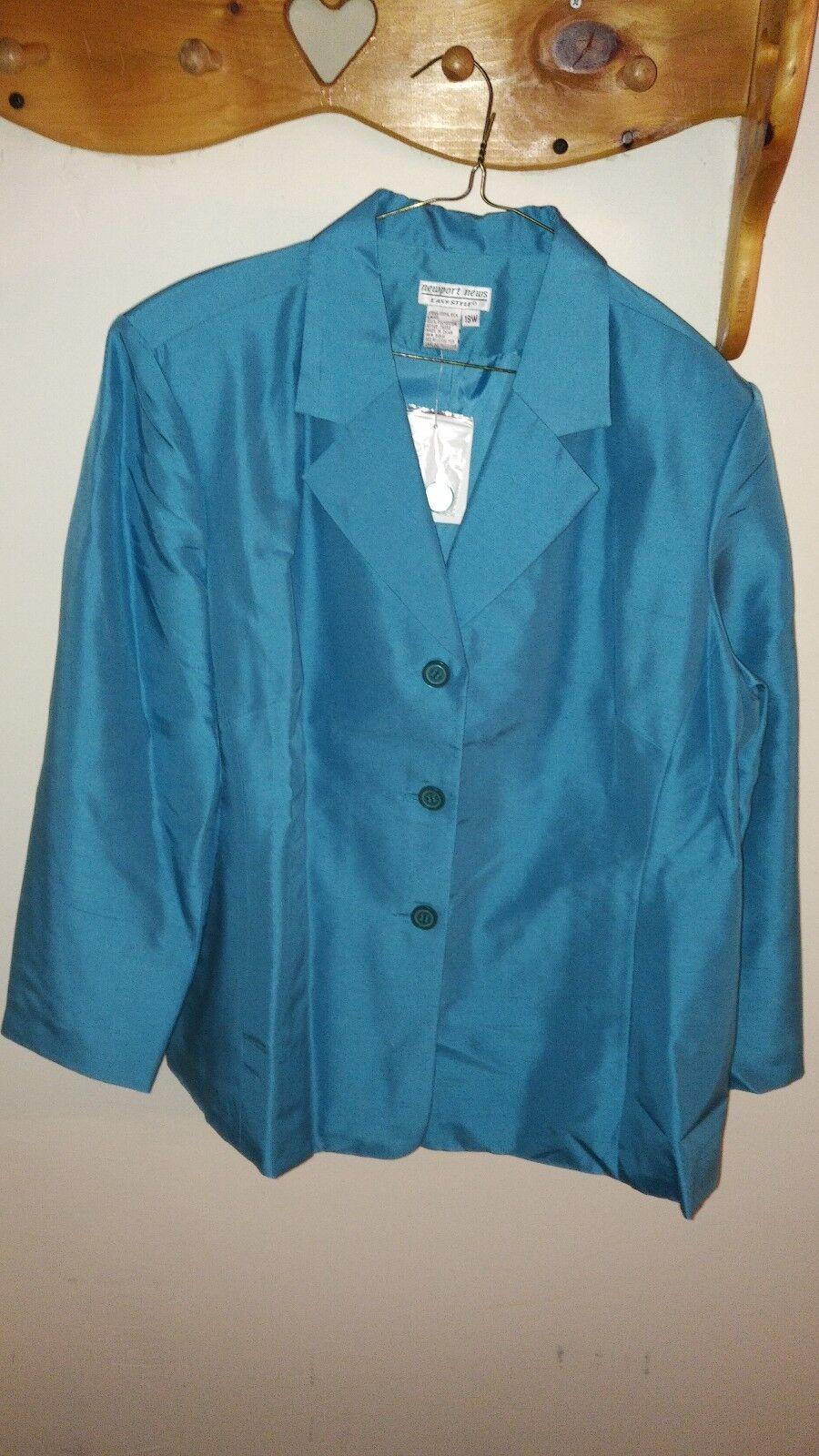 NEWPORT NEWS damen Shantung Silk Blazer Größe 18 W 3-Button Turquoise NewwithTag
