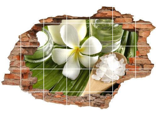 Fliesen-Bild Wand-Durchbruch 3D Fliesen-Aufkleber SPA-Wellness Orchidee Bambus