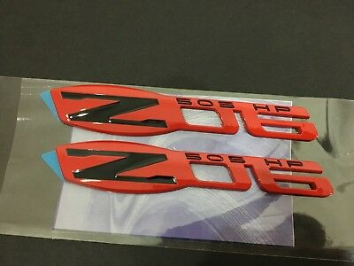 NEW Z06 505 HP EMBLEMS RED GLOSS BLACK ZO6 BADGES DECAL 2pcs