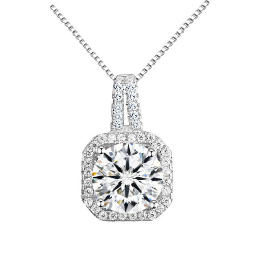Luxury Silver White Zircon Rhinestones Square Pendant Decoration Necklace N434