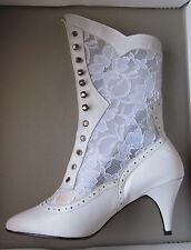 nwb WEDDING BOOT Wht calf leather/lace up Western Victorian Granny SteamPunk 8