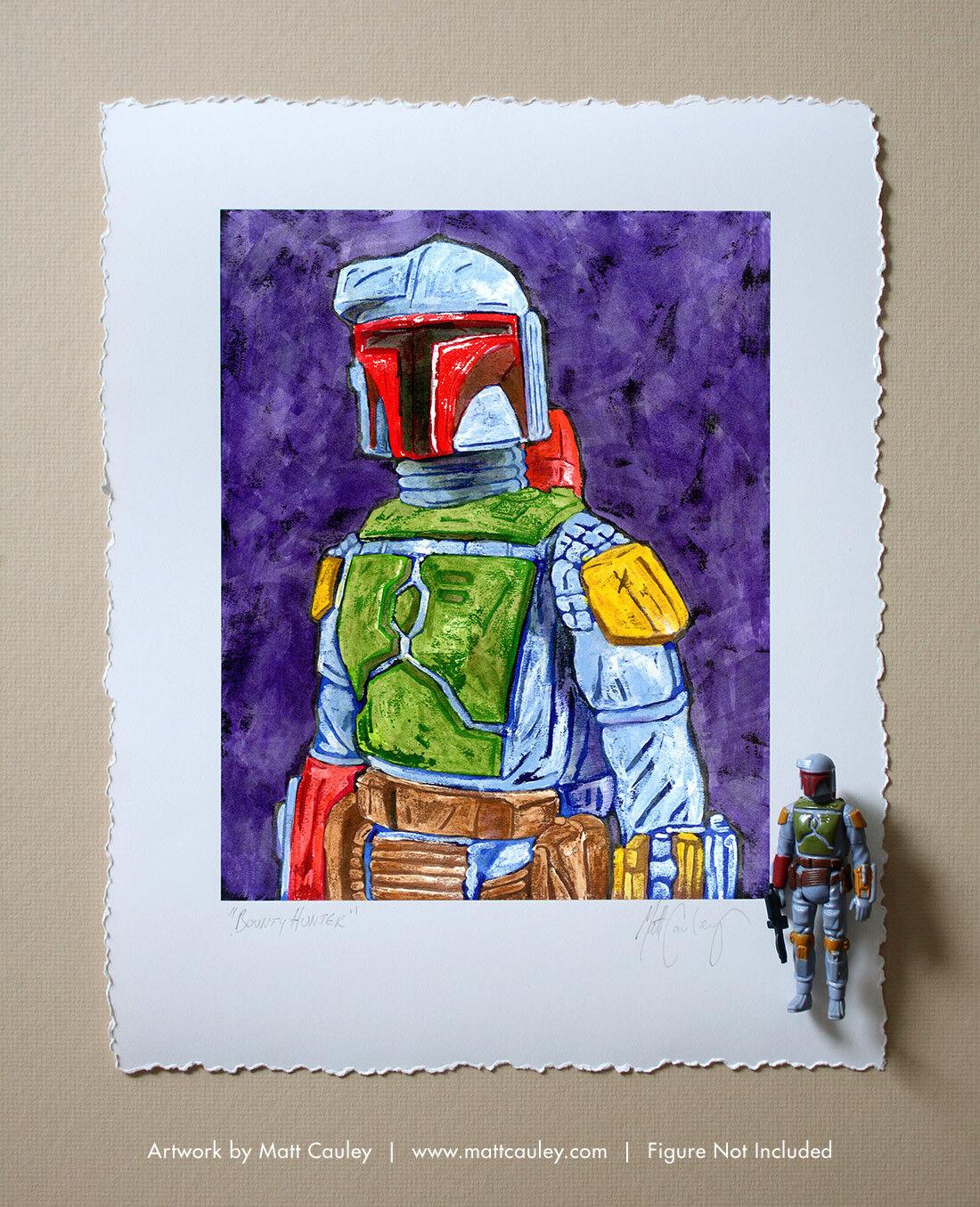 BOBA FETT Vintage Kenner Star Wars Action Figure ORIGINAL ART PRINT 3.75