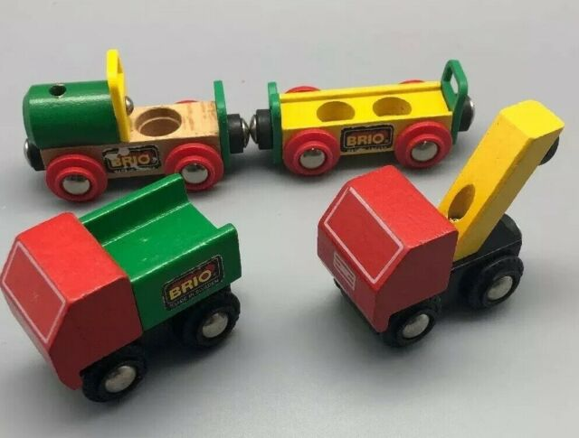 Lot Of 4 Wood Vintage BRIO Trucks Tow Truck, Dump Truck, Tractor, Trailer