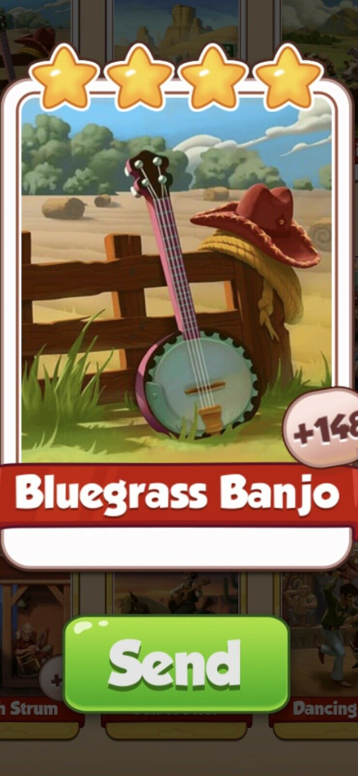 X 1 Bluegrass Banjo Cards from Country Folk Set Coin Master Card ( Fast Send )