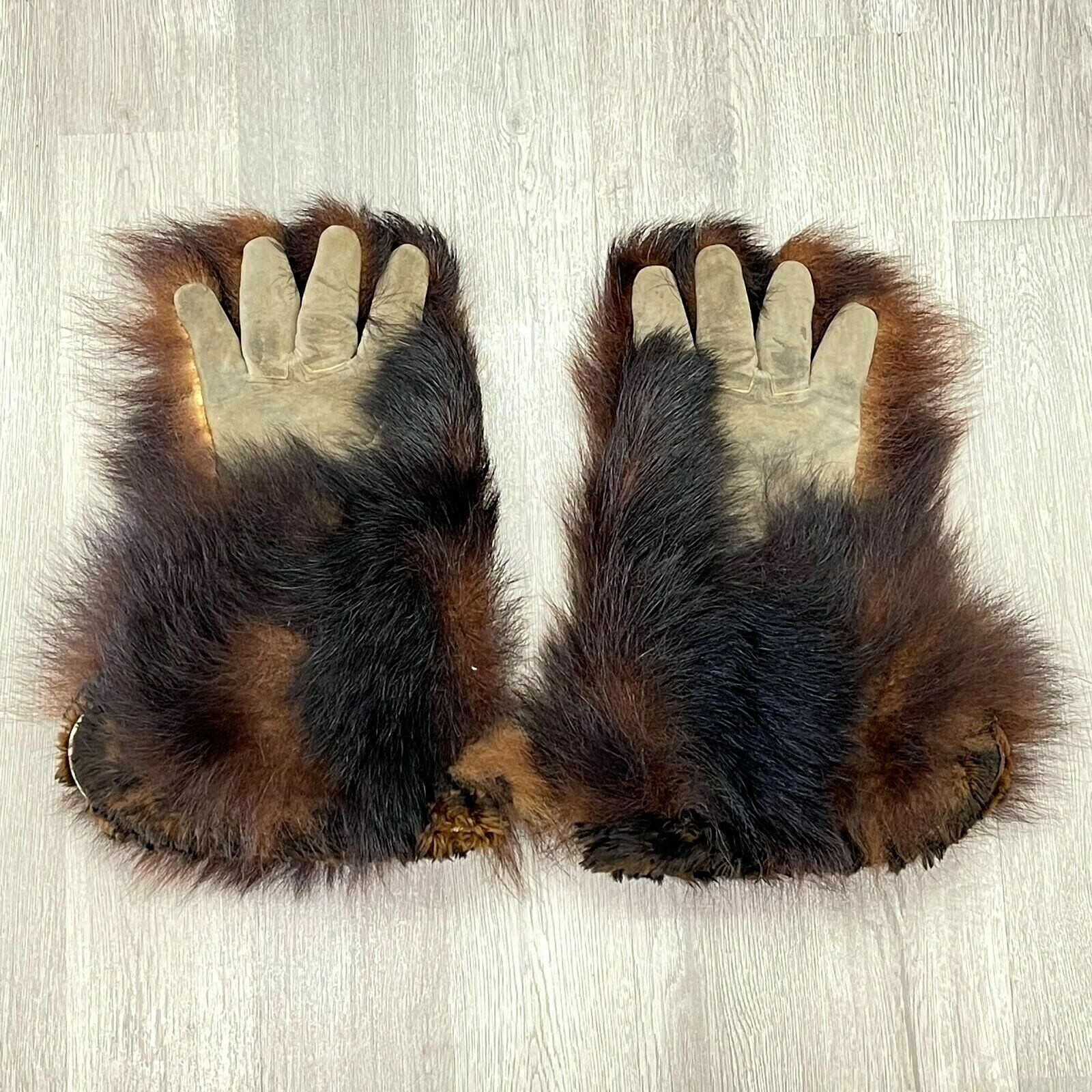 Antique Bear Skin Fur Leather Stagecoach Driver Gloves