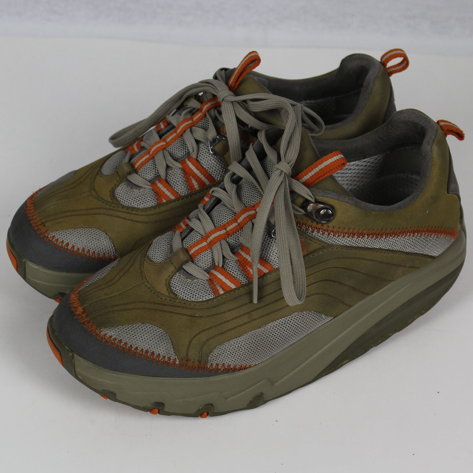 MBT Fitness Sneaker shoes Lace Up Green orange Women Size 7.5 7 1 2 37 2 3 EUC