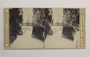 Gorges Del Trient Suisse Foto Stereo PL47 Vintage Albumina c1865