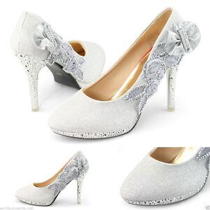 Zapatos de Boda Blanco-diamante impresionantes Nupcial Tacón Alto Zapatos de novia