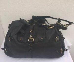 Image Is Loading Cynthia Rowley Satchel Shoulder Bag Soft Black Leather