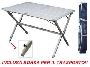 Tavolo Arrotolabile Campeggio E Outdoor.Tavolo Campeggio Alluminio Argo 110x70x72h Piano Arrotolabile E
