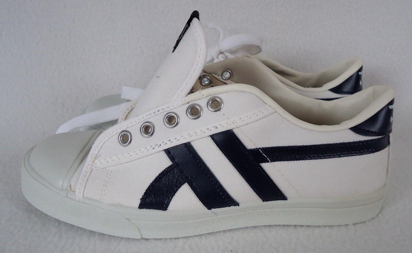 Zapatos Tenis Deportivos Vintage Jox 6 M blancoo Azul Marino Lona Hombre Retro Nuevo