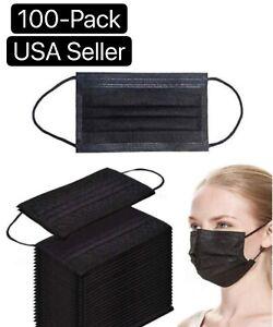 50-100-PCS-Black-Face-Mask-Mouth-amp-Nose-Protector-Respirator-Masks-USA-Seller