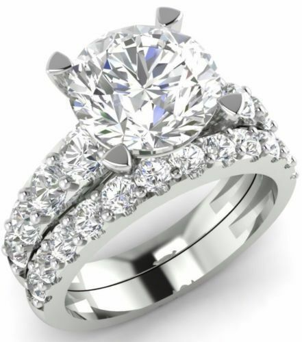 Certified 4.00Ct Round Diamond Engagement Wedding Ring in Solid 14K White Gold