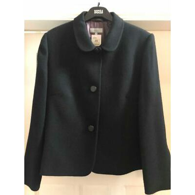 BNWT MARKS & SPENCER BLACK 100% WOOL LINED JACKET SINGLE BREASTED SIZE 20