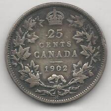 CANADA,  1902-H,  25 CENTS,  SILVER,  KM#11,  FINE-VERY FINE