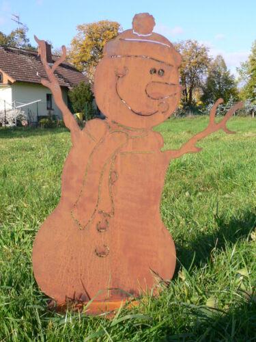 Schneemann KURTI 30cm Rost Edelrost Metall Figur Rostfigur Winter Schlitten