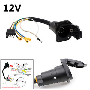 Details about 12V 4 Pin Flat to 7 Pin Round Trailer Plug Wiring Adapter on