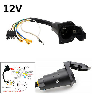 12v 4 pin flat to 7 pin round trailer plug wiring adapter plug black  rvstyle  ebay
