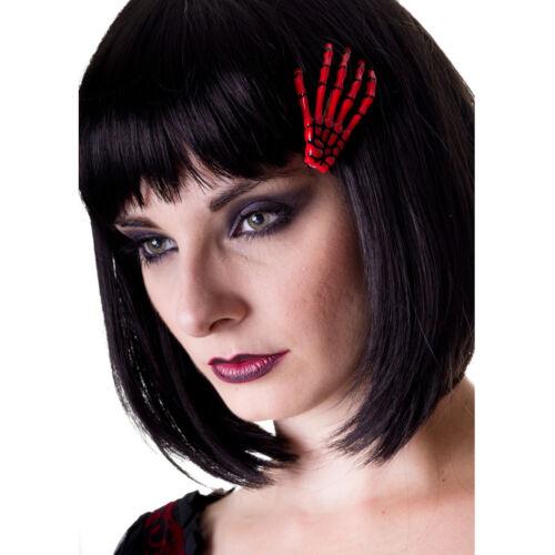 Banned Gothic Punk Halloween Haarclip Haarspange Skelett Hand Knochen Rot