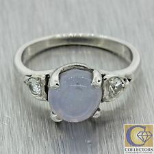 1940s Antique Art Deco Estate 14k Solid White Gold Star Sapphire Diamond Ring