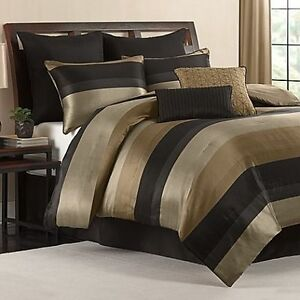 Cal King Comforter Set Black Gold Tan Satin Finish 8 Piece Bedroom Bedding Ebay