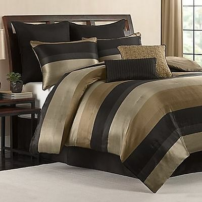 Cal King Comforter Set Black Gold Tan Satin Finish 8 Piece Bedroom Bedding