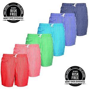 Mens-Summer-Swimming-Swim-Shorts-Striped-Casual-Beach-Surf-Board-Cotton-Short