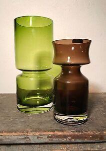 Riihimaki Glass Ruusu Vase Brown Hoop Tamara Aladin 1960s Finland Gurgled Vtg