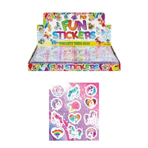 Unicorn Stickers Sheets Childrens Reward Party Bag Christmas Stocking Filler