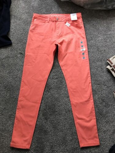 M/&S Arancione Scuro Mid Rise Super Skinny Jeans Taglia 14 Lungo BNWT gratuito stesso giorno P /& P