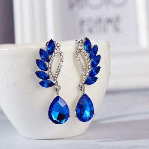 Fashion Women Blue Statement Gold Silver Plated Crystal Big Dangle Drop Earrings