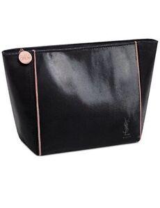 YSL Yves Saint Laurent Beaute Black Patent Leather Bag Makeup Case ... 721562877ffa7