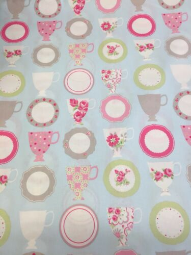 Cups and Saucers Clarke N Clarke 100/% Cotton Print Fabric