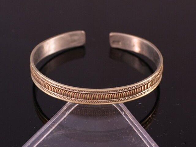 Small Vintage Tibetan 3-Color Copper Multi Strands Braided Weaving Cuff Bracelet